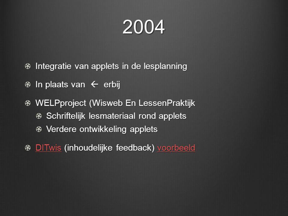 2004 Integratie van applets in de lesplanning In plaats van  erbij