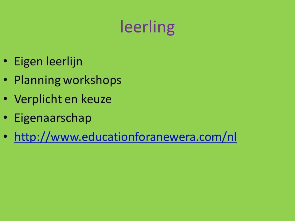 leerling Eigen leerlijn Planning workshops Verplicht en keuze