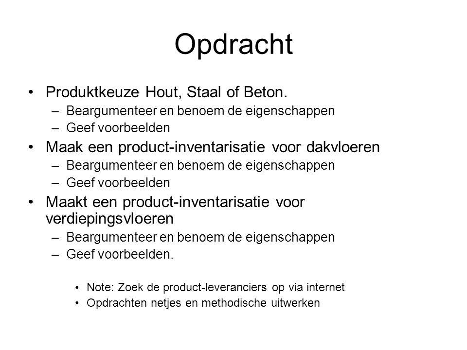 Opdracht Produktkeuze Hout, Staal of Beton.