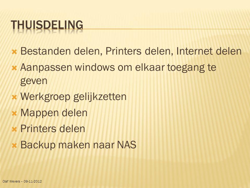 Thuisdeling Bestanden delen, Printers delen, Internet delen