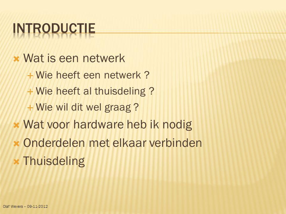 Introductie Wat is een netwerk Wat voor hardware heb ik nodig