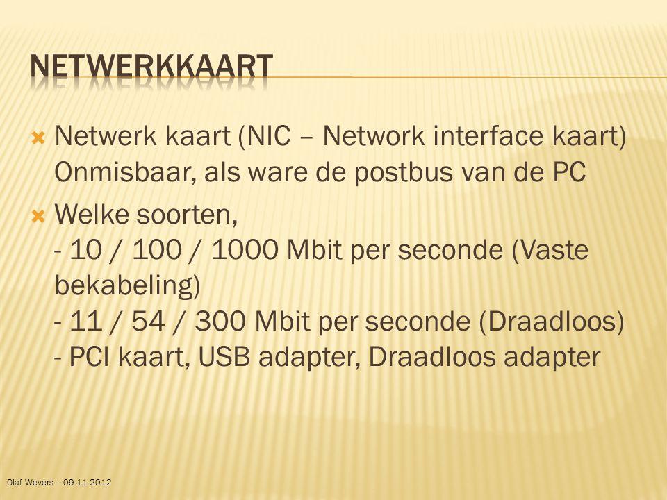 Netwerkkaart Netwerk kaart (NIC – Network interface kaart) Onmisbaar, als ware de postbus van de PC.