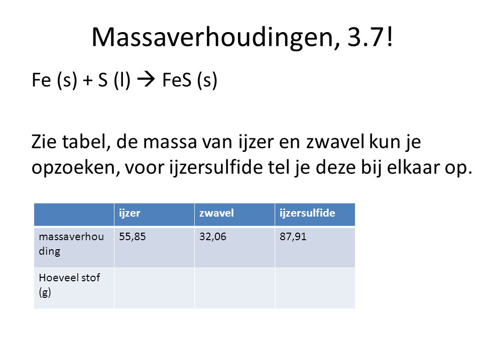 Massaverhoudingen, 3.7! Fe (s) + S (l)  FeS (s)