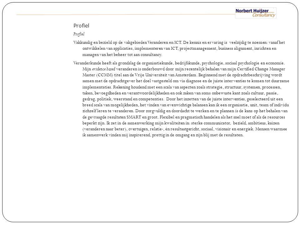 Profiel Vakkundig en bezield op de vakgebieden Veranderen en ICT
