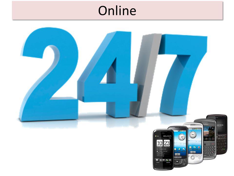 Online We zijn elke dag online Wifi op school (50%) 55% heeft een smartphone (8 -18 jaar) 80% 17-jarigen heeft een smartphone.