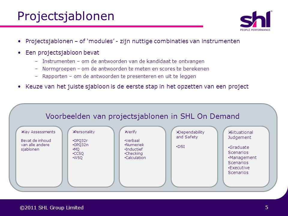 Voorbeelden van projectsjablonen in SHL On Demand