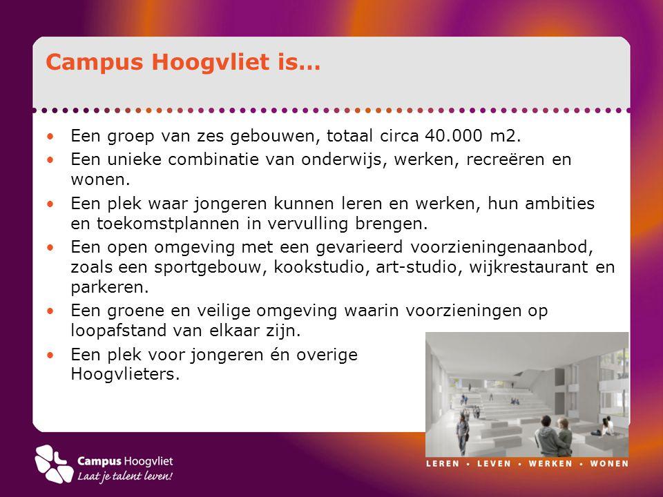 Campus Hoogvliet is… Een groep van zes gebouwen, totaal circa 40.000 m2. Een unieke combinatie van onderwijs, werken, recreëren en wonen.