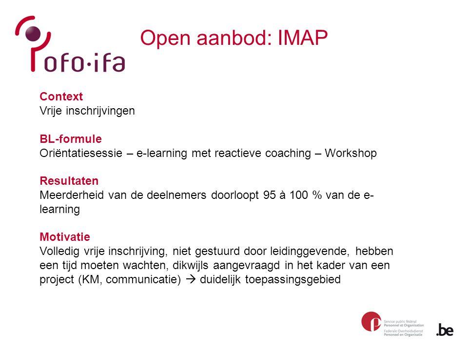 Open aanbod: IMAP Context Vrije inschrijvingen BL-formule