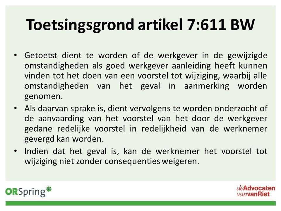 Toetsingsgrond artikel 7:611 BW