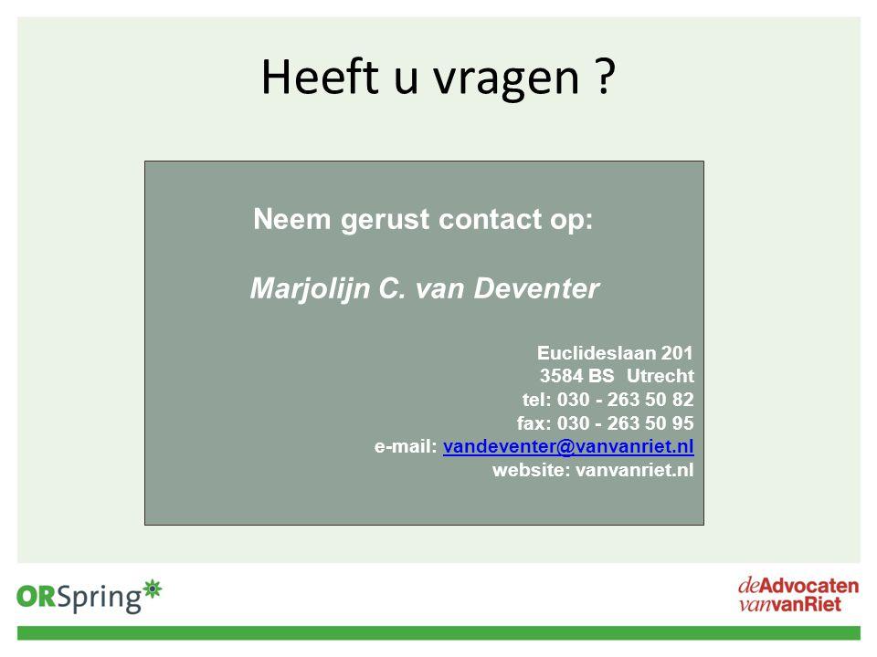 Neem gerust contact op: Marjolijn C. van Deventer
