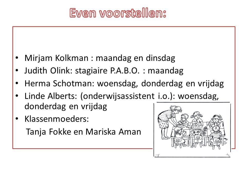 Even voorstellen: Mirjam Kolkman : maandag en dinsdag