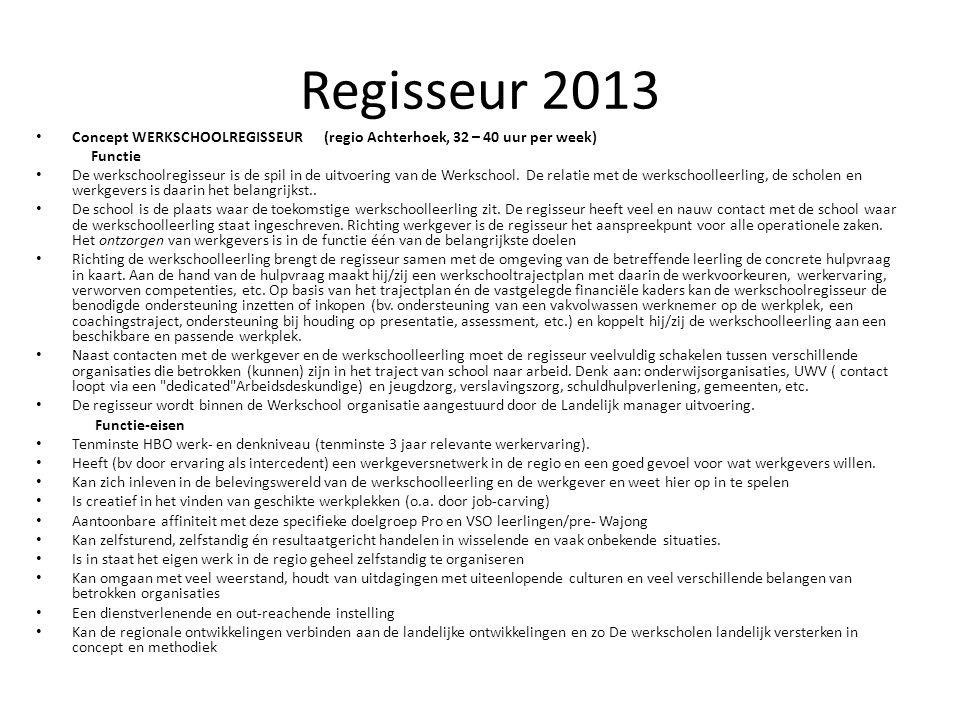 Regisseur 2013 Concept WERKSCHOOLREGISSEUR (regio Achterhoek, 32 – 40 uur per week) Functie.