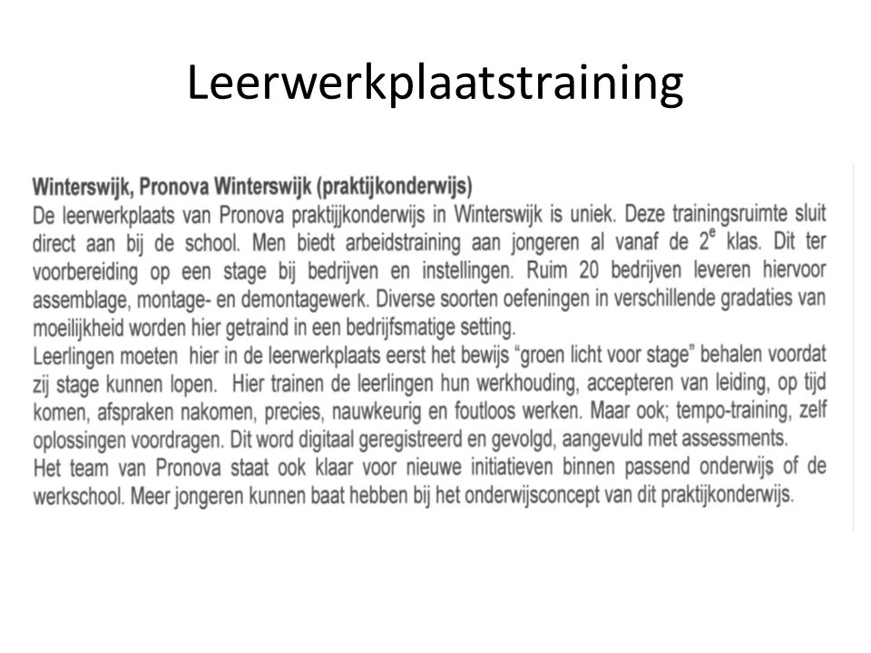 Leerwerkplaatstraining