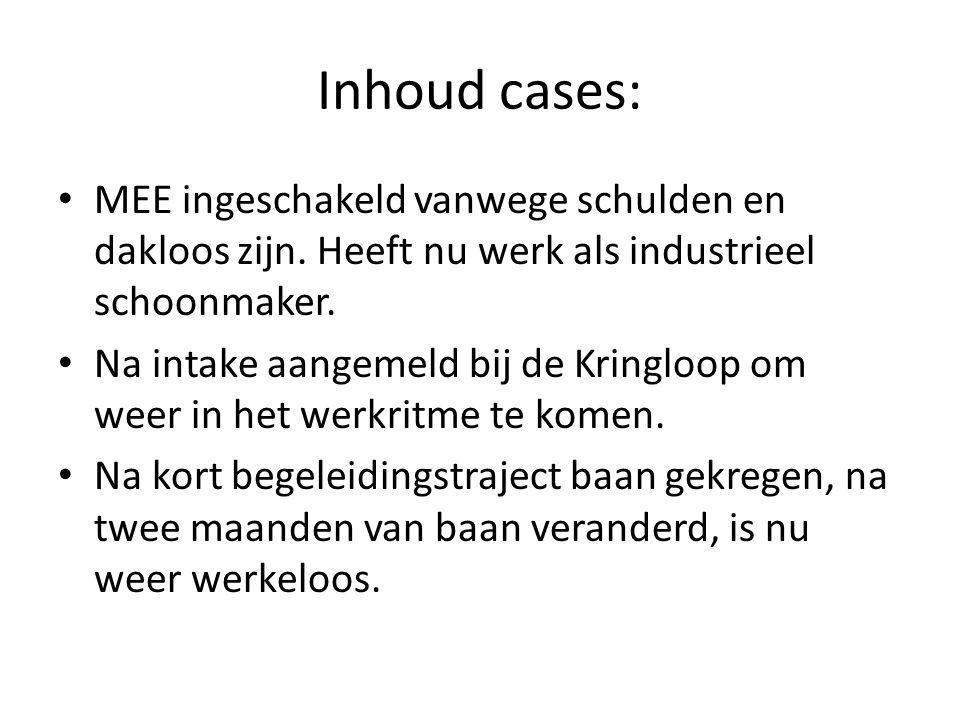 Inhoud cases: MEE ingeschakeld vanwege schulden en dakloos zijn. Heeft nu werk als industrieel schoonmaker.