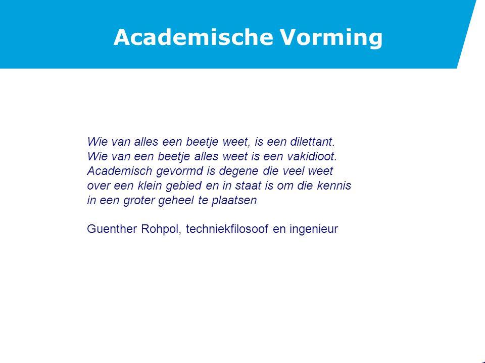 Academische Vorming De maatschappij verlangt veel van een academisch opgeleide ingenieur: Kundigheid in een technische discipline.