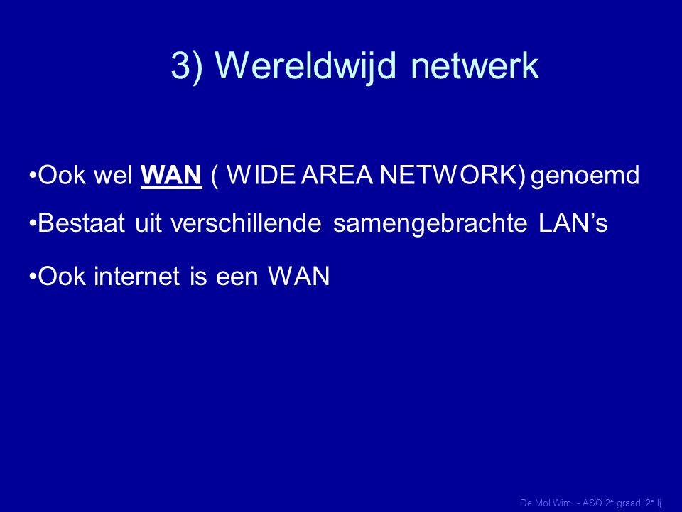 3) Wereldwijd netwerk Ook wel WAN ( WIDE AREA NETWORK) genoemd