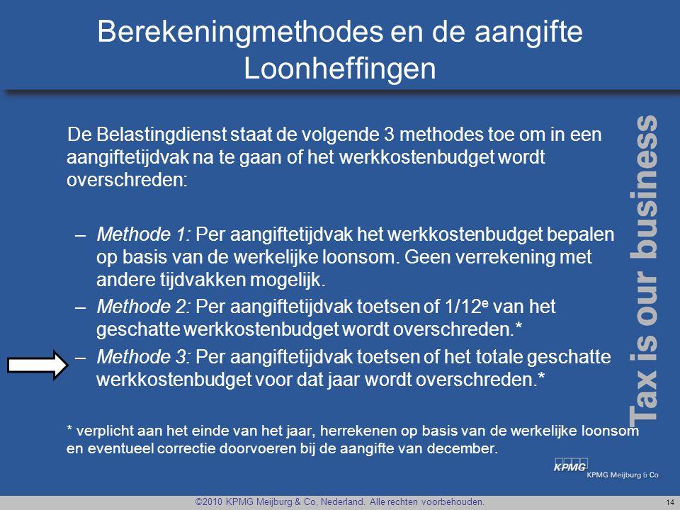 Berekeningmethodes en de aangifte Loonheffingen
