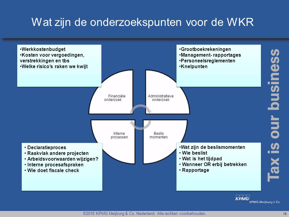 Wat zijn de onderzoekspunten voor de WKR