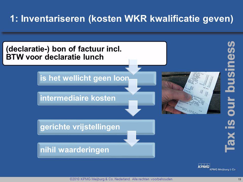 1: Inventariseren (kosten WKR kwalificatie geven)
