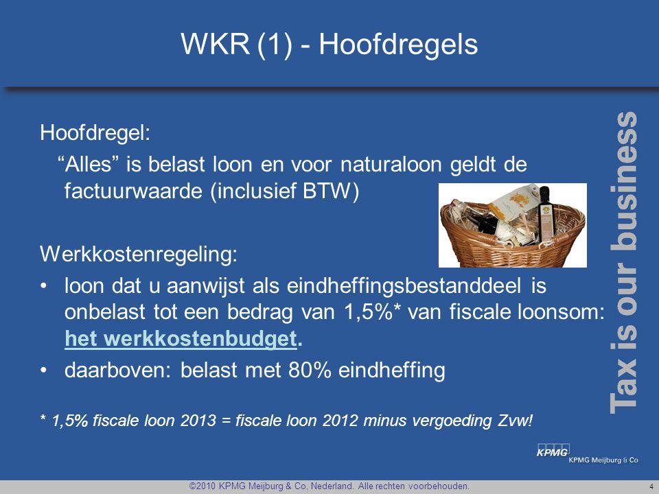 WKR (1) - Hoofdregels Hoofdregel:
