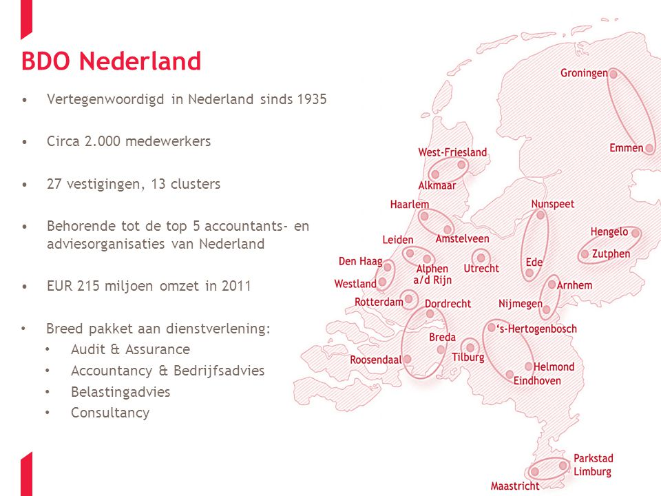 BDO Nederland Vertegenwoordigd in Nederland sinds 1935