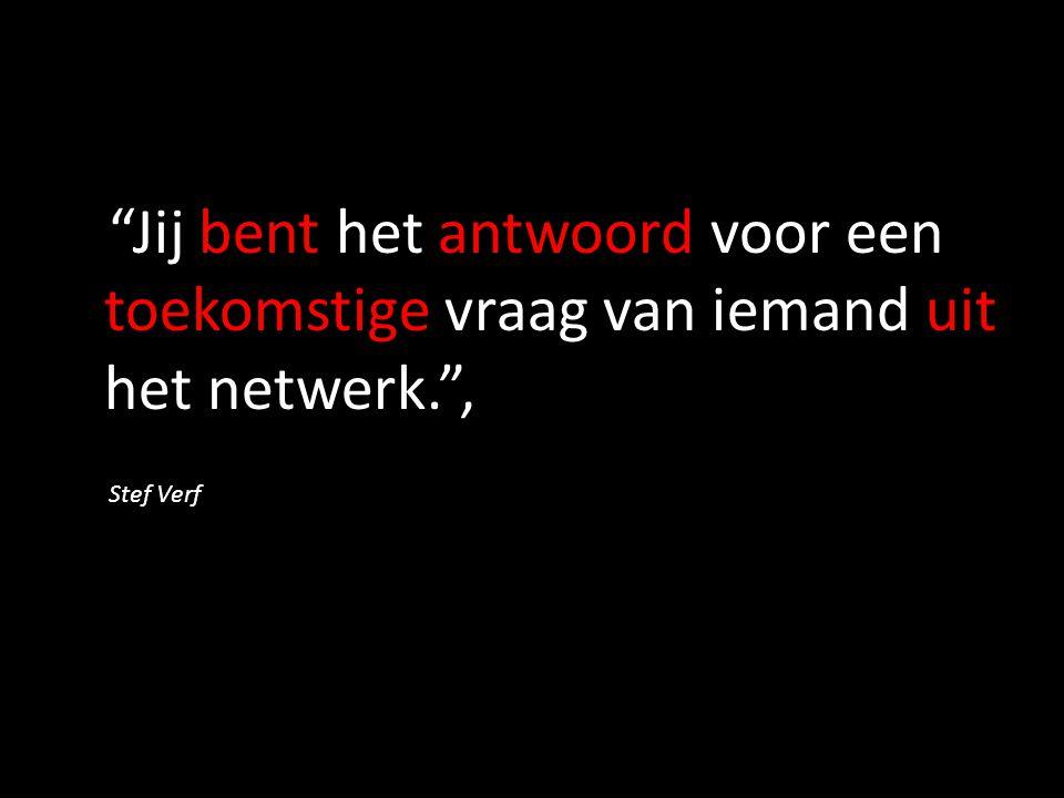 Jij bent het antwoord voor een toekomstige vraag van iemand uit het netwerk. , Stef Verf