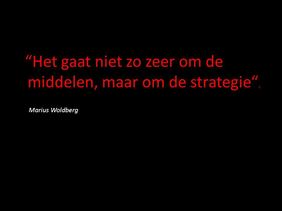 Het gaat niet zo zeer om de middelen, maar om de strategie , Marius Woldberg
