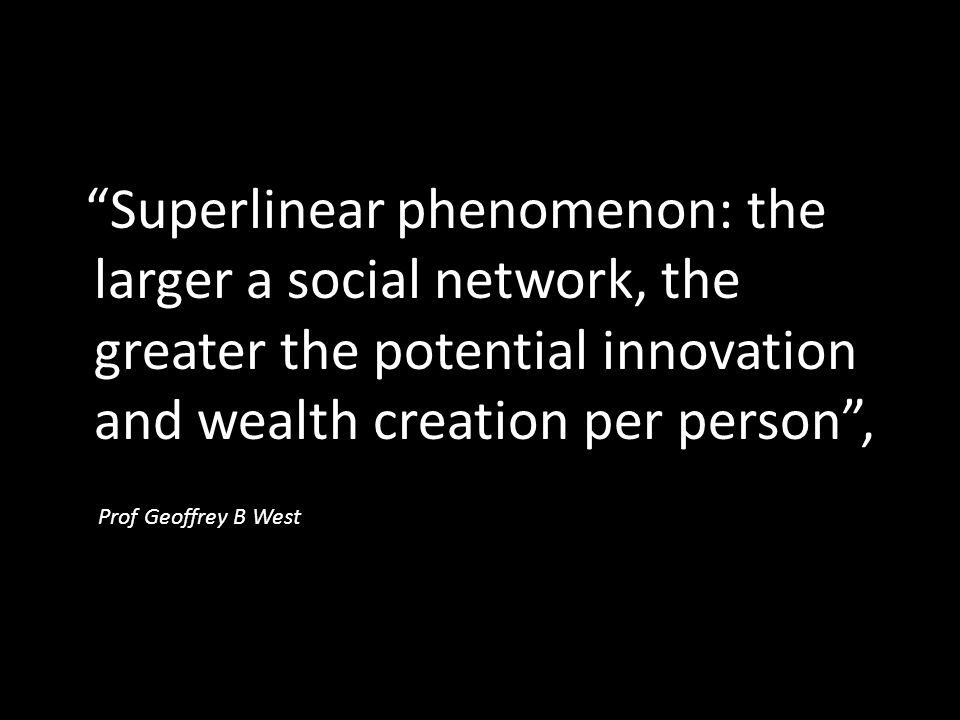 Superlinear phenomenon: the larger a social network, the greater the potential innovation and wealth creation per person ,