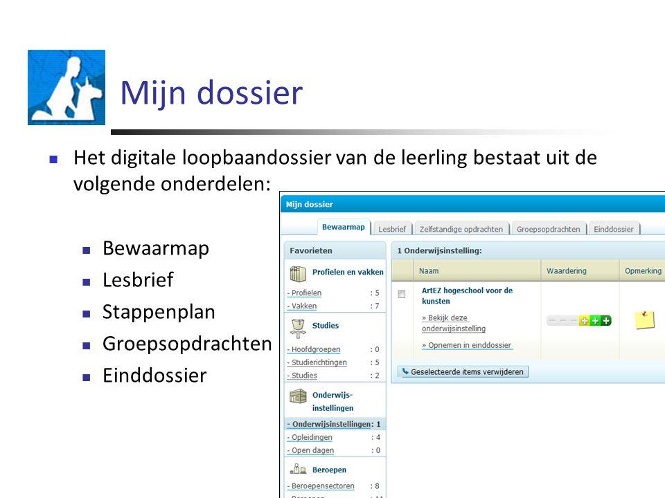 Mijn dossier Het digitale loopbaandossier van de leerling bestaat uit de volgende onderdelen: Bewaarmap.