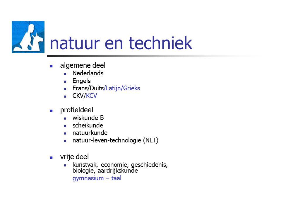 natuur en techniek algemene deel profieldeel vrije deel Nederlands