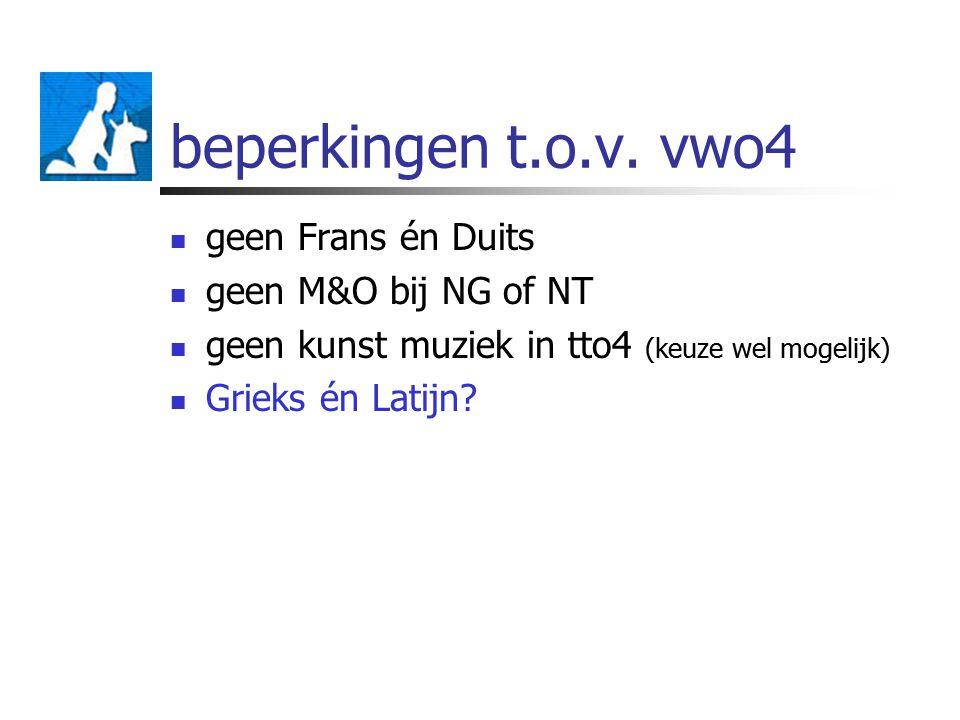 beperkingen t.o.v. vwo4 geen Frans én Duits geen M&O bij NG of NT