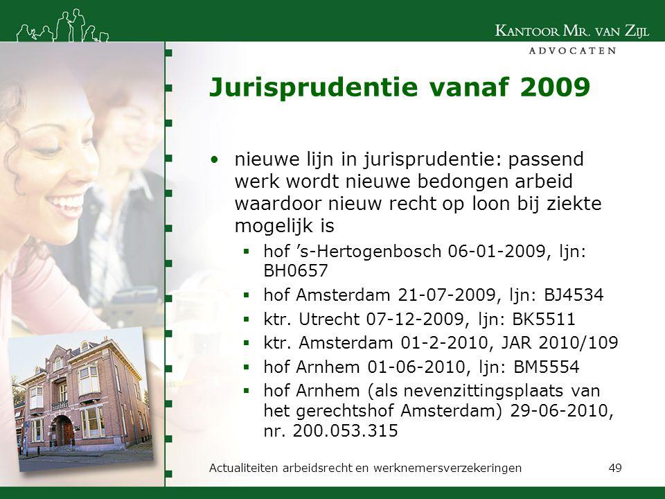 Jurisprudentie vanaf 2009