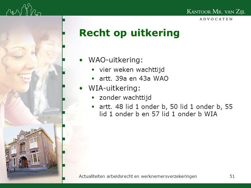 Recht op uitkering WAO-uitkering: WIA-uitkering: vier weken wachttijd