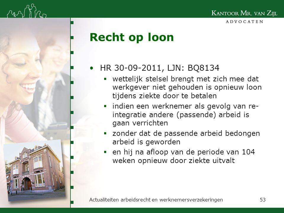 Recht op loon HR 30-09-2011, LJN: BQ8134