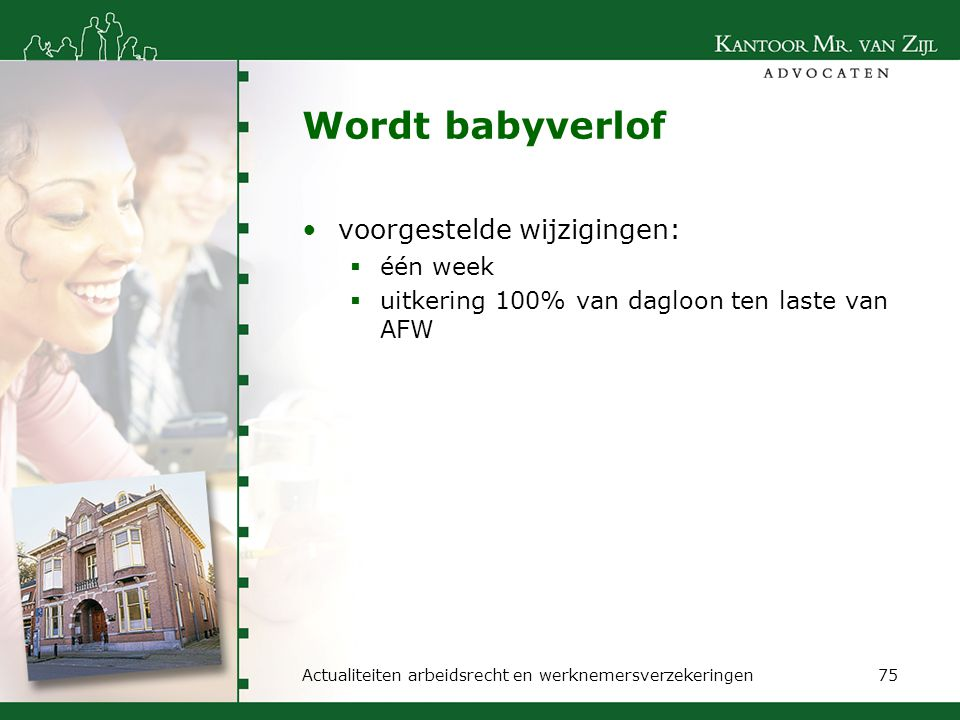 Wordt babyverlof voorgestelde wijzigingen: één week