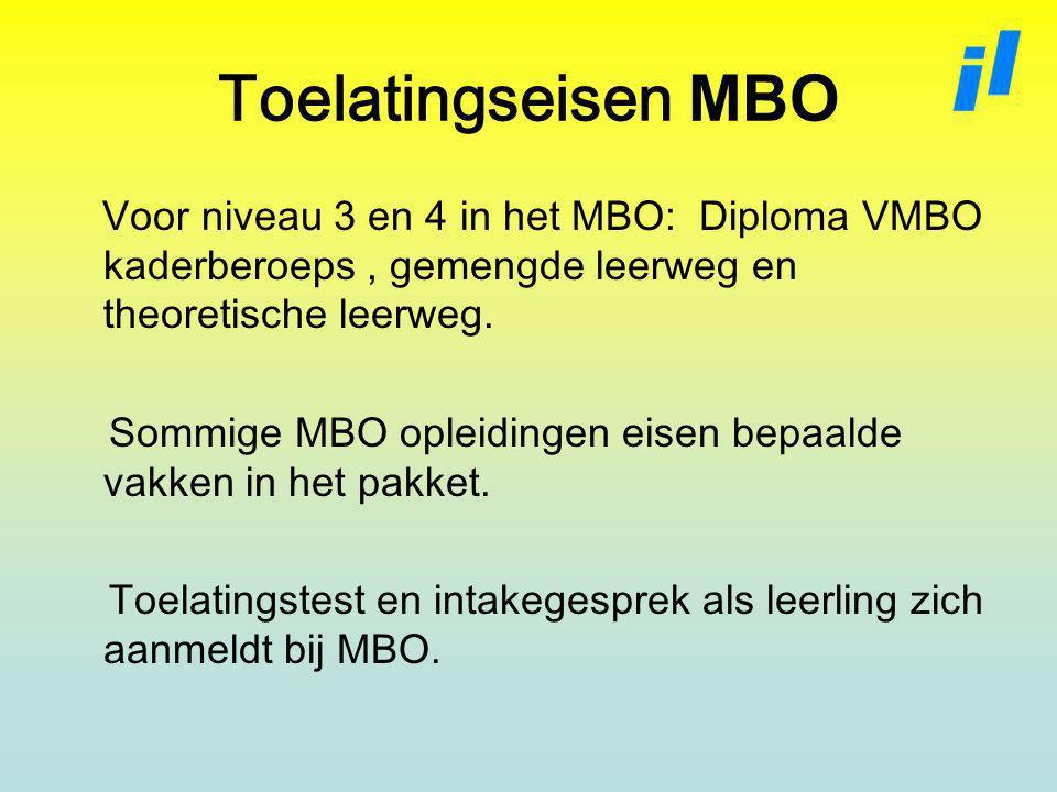 Toelatingseisen MBO Voor niveau 3 en 4 in het MBO: Diploma VMBO kaderberoeps , gemengde leerweg en theoretische leerweg.