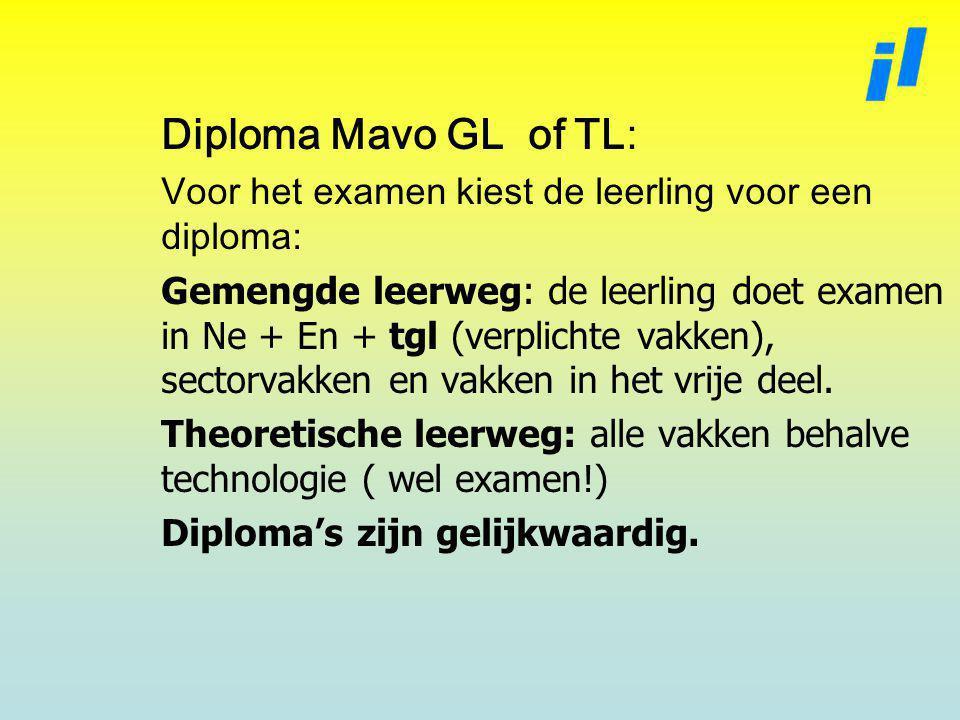 Diploma Mavo GL of TL: Voor het examen kiest de leerling voor een diploma: