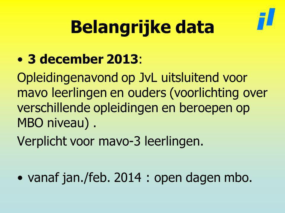 Belangrijke data 3 december 2013: