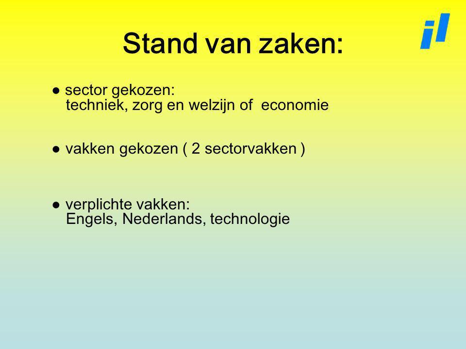 Stand van zaken: ● sector gekozen: techniek, zorg en welzijn of economie. ● vakken gekozen ( 2 sectorvakken )