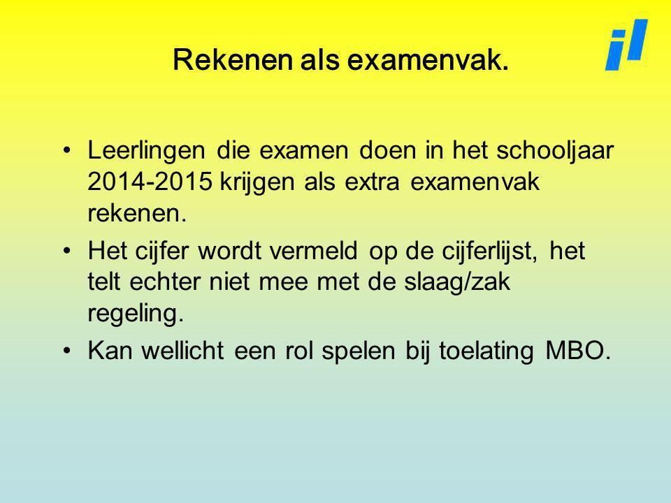 Rekenen als examenvak. Leerlingen die examen doen in het schooljaar 2014-2015 krijgen als extra examenvak rekenen.