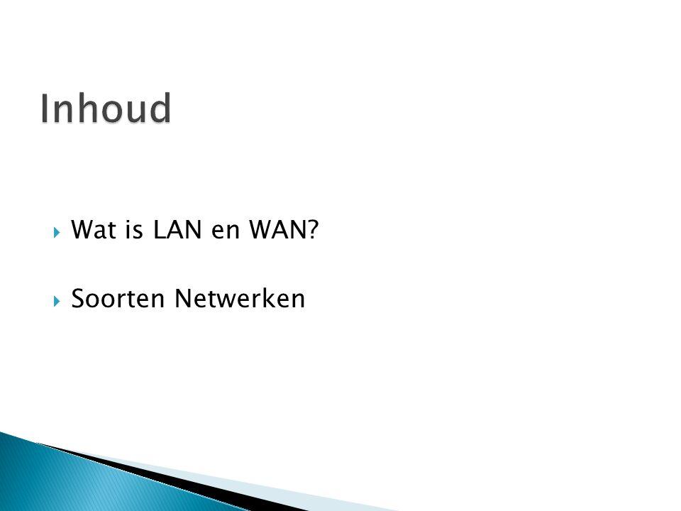 Inhoud Wat is LAN en WAN Soorten Netwerken