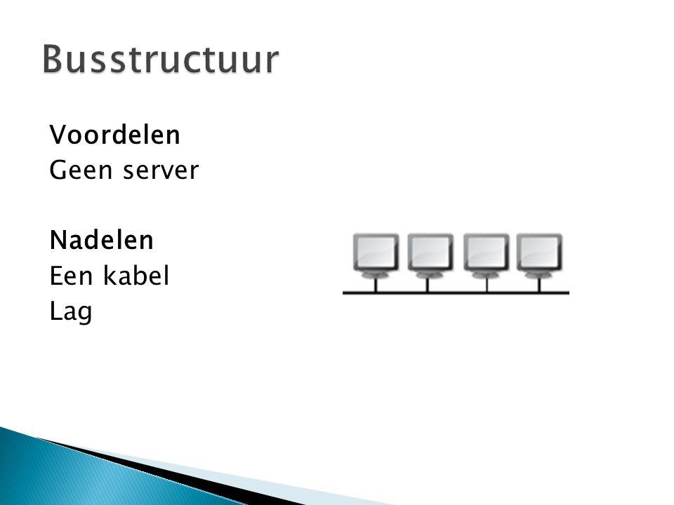 Busstructuur Voordelen Geen server Nadelen Een kabel Lag