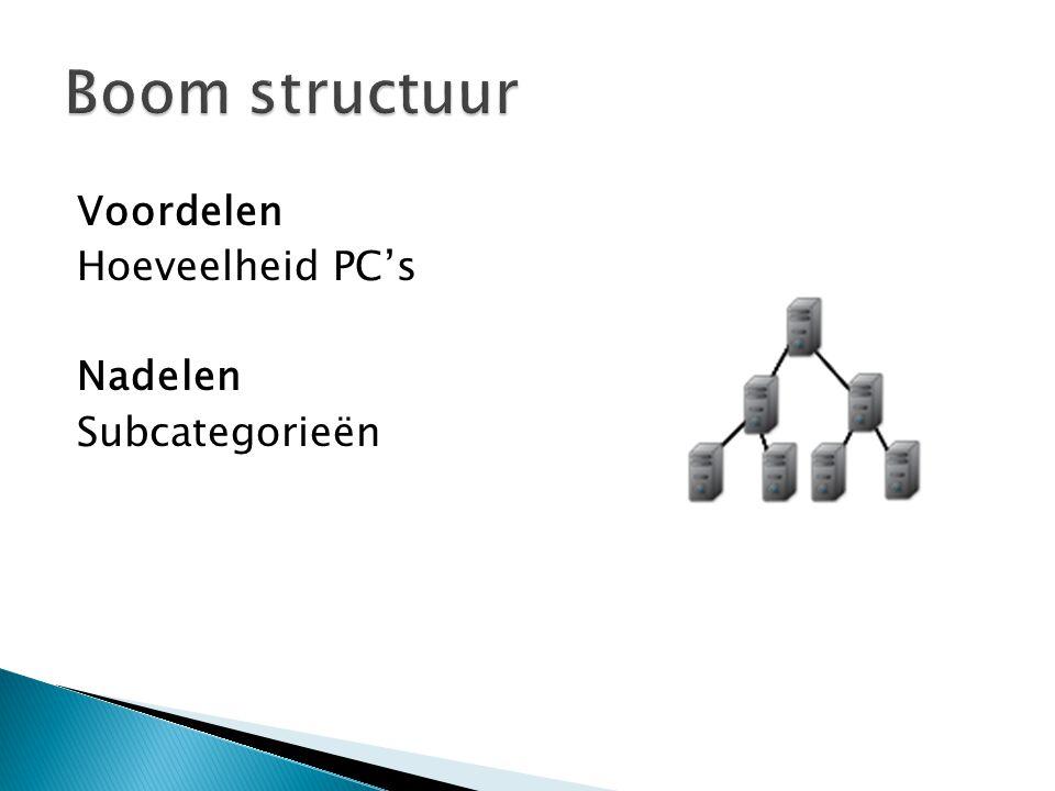 Boom structuur Voordelen Hoeveelheid PC's Nadelen Subcategorieën