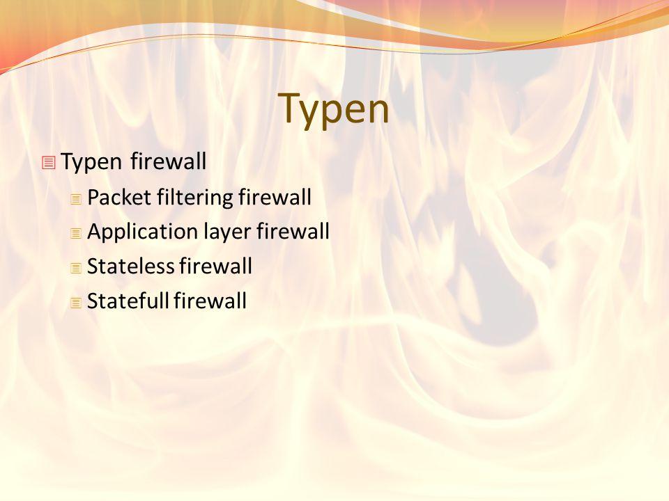 Typen Typen firewall Packet filtering firewall