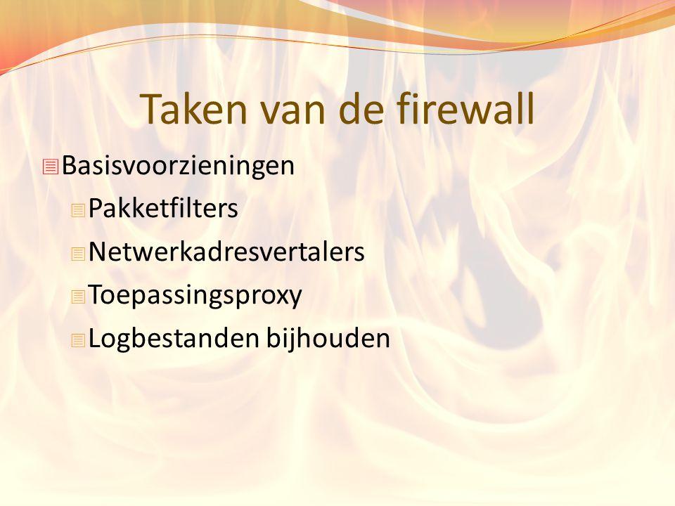 Taken van de firewall Basisvoorzieningen Pakketfilters