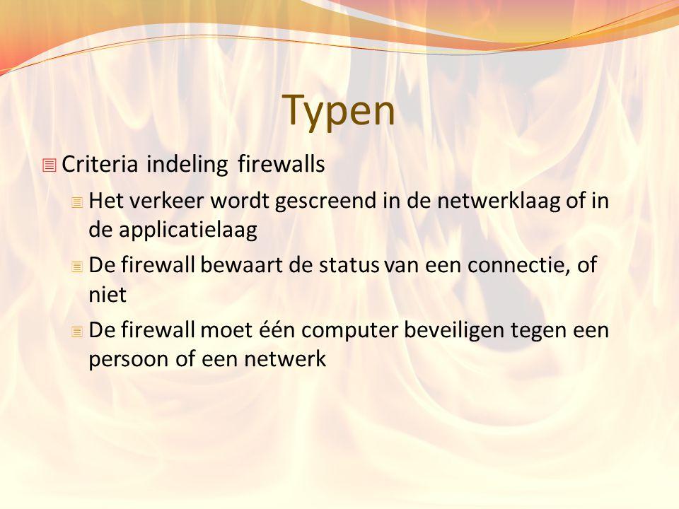 Typen Criteria indeling firewalls
