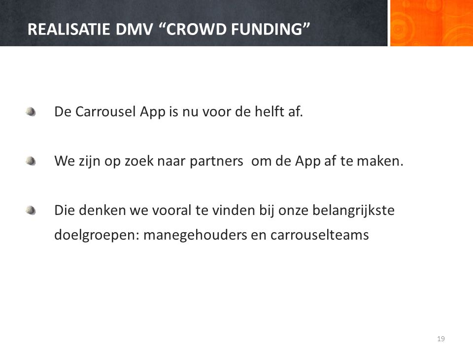REALISATIE DMV CROWD FUNDING
