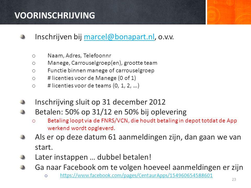 VOORINSCHRIJVING Inschrijven bij marcel@bonapart.nl, o.v.v.