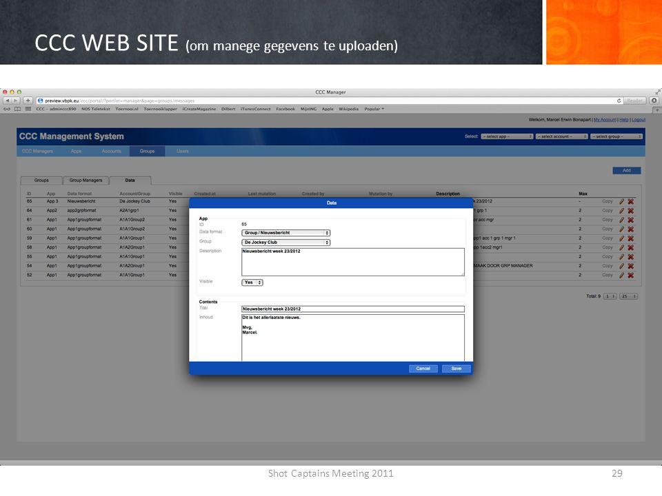 CCC WEB SITE (om manege gegevens te uploaden)