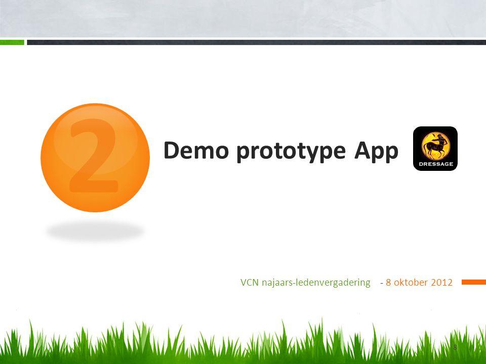 2 Demo prototype App VCN najaars-ledenvergadering - 8 oktober 2012